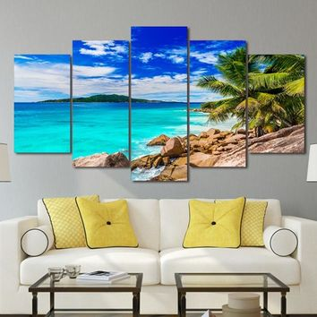 Modern Canvas Art Painting Frame HD Printed Wall Art 5 Pieces Pictures Summer Beach Sea Shore Seascape Poster Home Decor PENGDA