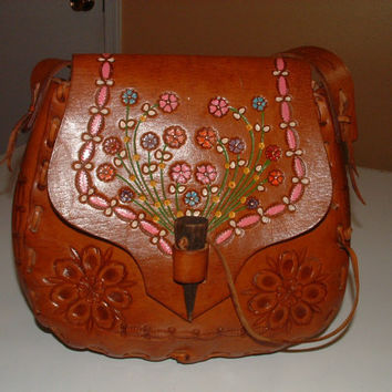 Vintage Tooled Flowers Leather Hand Painted Bag Hand Signed By US ASTRONAUT Alan SHEPARD Autographed 1974 Mod Hippie Disco Purse