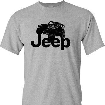 Jeep Rubicon Logo on a Sports Grey T Shirt