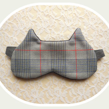 Cat Sleep Mask - Gray Plaid - Dark Fleece  - Comfortable - Cute Ears Nap Eye Cover - Women - Teen Girl - Winter Sleeping Mask - Wool
