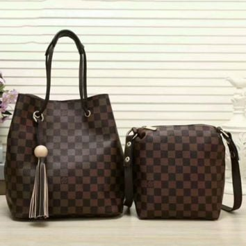 LV Women Shopping Leather Tote Handbag Shoulder Bag Two Piece G-LLBPFSH