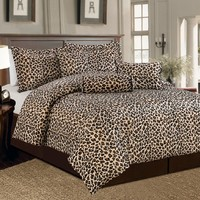 Beautiful 7 Pc Brown and Beige Leopard Print Faux Fur, Queen Size Comforter Bedding Set