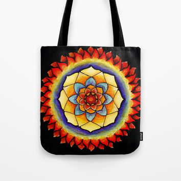 Sun and Flame Mandala Tote Bag by Shashira Handmaker