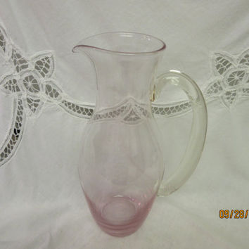Pink Glass Hand Blown Pitcher, Art Glass, Water Pitcher with a Glass Handle