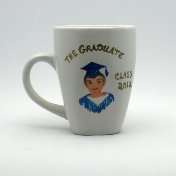 Painted 2012 Male Graduation Cup by PaintedDesignsByLona on Etsy