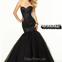 Sweetheart Beaded Tulle Mermaid Paparazzi Prom Dress By Mori Lee 97103