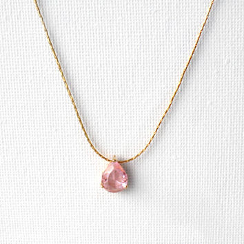 Light Rose / 16k Gold Plated Brass Framed Glass /  Solitaire / Gold Necklace / Dainty jewelry / Bridal