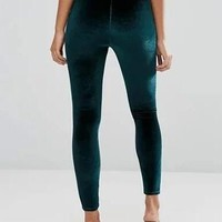 Dark Green High Waist Velvet Leggings