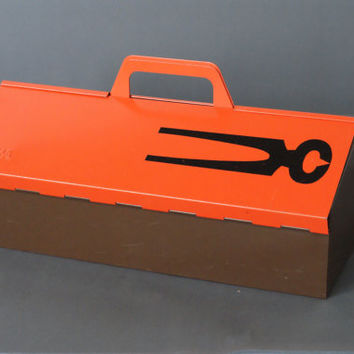 MEWA Metal Tool Box, Wilhelm Kienzle Utility Box, Swiss Designed Toolbox, Made in Switzerland, 1950s Mid Century Modern, Bauhaus