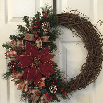 Reserved for Erica,Christmas Wreath,Rustic Wreath,Winter Wreath,Rustic Decor,Country Christmas,Primitive Wreath,Grapevine Wreath,Poinsettia