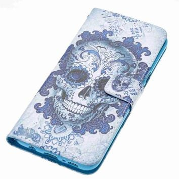 3D Print Flowers Skull Skeleton Pattern Leather Wallet Cover Flip Stand Phone Bag Case For Samsung Galaxy S8 Plus S6 S5 S7 Edge - 1, For Galaxy S6