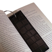 Rectangular Bookmark Nuvtex Crocodile Embossed Black Vinyl Ultrasoft Feel