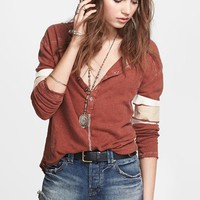 Free People 'Game Time' Linen & Cotton Henley