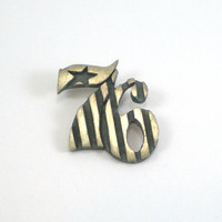 Number 76 American Flag Sterling Silver Pendant, Designer Lee Britt, Unusual Mod Pendant, Stripes Star Pendant