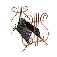 Mid Century Record Holder, Wire Rack, Musical Notation, Retro Home Decor, Gold Tone Metal