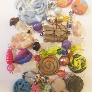 35 beads drops charms pendants mixed lot charms collection clay stone glass acrylic jewelry making supply lot