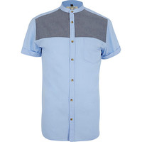 River Island MensBlue chambray yoke shirt