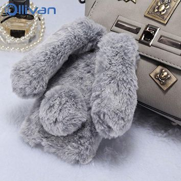 Pet Rabbit Hair Fur Warm Plush Soft TPU Bling Glitter Phone Case For IPhone 7 8 Plus Case 6 6S Plus Cover 3D Silicone Coque Capa