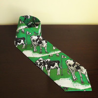 Cow Golf Tie, Mens Cotton Colorful Novelty Necktie, Funny Gag Tie