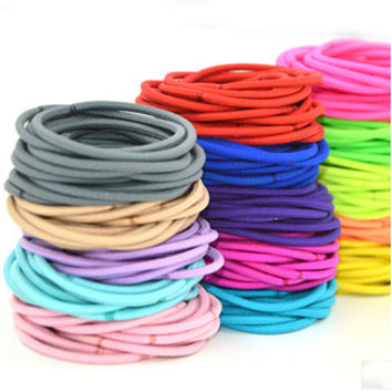 0 100 Pcs Kids Girl Lady Elastic Rubber Hair Bands Ponytail Holder Head Rope Ties