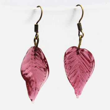 Dark Pink Leaves and Brass Dangle Earrings Large by SeventhChild