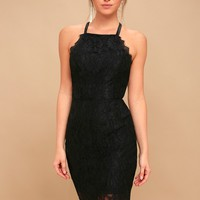 Wishful Wanderings Black Lace Bodycon Midi Dress