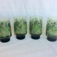 Green flower glasses/ vintage set of 4 glasses/ green and yellow floral glasses/ hippie juice tumblers