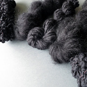 Yarn pack for knitting, crochet, weaving or felting. Wool, mohair and kid mohair - Black Sheep.