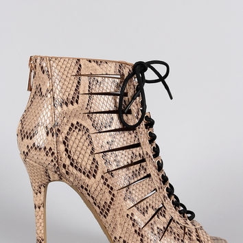 Anne Michelle Snake Slit Lace Up Peep Toe Bootie