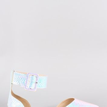 Liliana Holographic Snake Pointy Toe Buckled Ankle Cuff Flat Mermaid & Unicorn Lovers