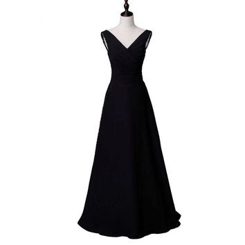 New arrival elegant long dress prom party dresses A-line V neck black chiffon formal dress