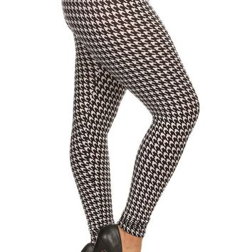 Plus Size Contrast Houndstooth Print Leggings