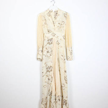 Vintage Hippie Wedding Dress Beige Ivory Tan Floral Print Lace Sleeve Ruffle Hem Boho Maxi Dress 1970s Wedding Gown 70s Bohemian Bride S M