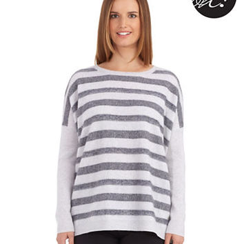 Lord & Taylor Petite Striped Cashmere Sweater