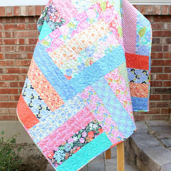 Floral Lap Quilt, Honey Honey by Moda, Throw Quilt, Bright Flowers, Long Arm Quilted