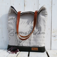 Tote bag Leather strap New York // London // Roma // Paris // linen canvas screen printed shoulderbag
