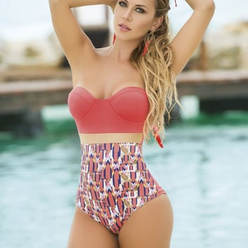One Piece Coral Print Swimsuit