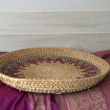 Boho Round Woven Basket, Wicker Tray, Boho Wall Decor