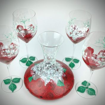 5 piece wine set, Red Rose and Baby's Breath Wine Glasses with Carafe, Hand Painted wine glasses, rose wine glasses, wedding wine set