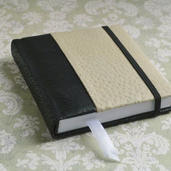 Notebook leather Leather journal Leather covered blank book Pocket leather notebook Black and gray leather journal Diary leather book