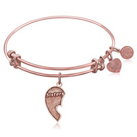 Expandable Bangle in Pink Tone Brass with Sisters Inseparable Symbol