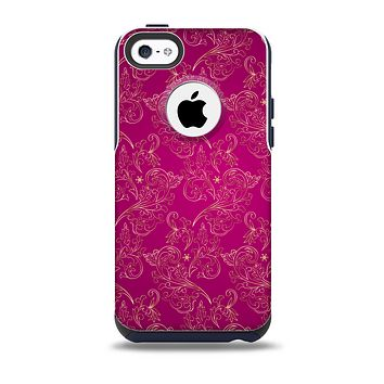 The Pink and Yellow Floral Vine Pattern Skin for the iPhone 5c OtterBox Commuter Case