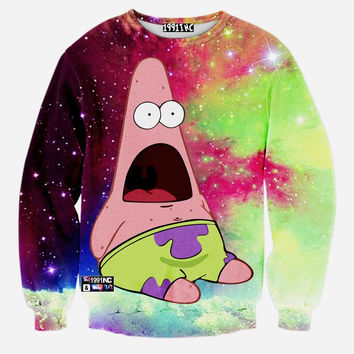 Patrick Star In Space All Over Print Spongebob Squarepants Crew Neck Sweatshirt