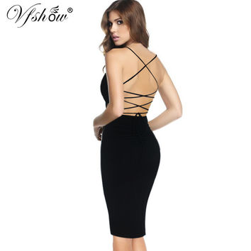Vfemage Womens Backless Sexy Lace up Strappy Cutout Lady Open Back Slim Party Club Evening Vestido Bodycon Pencil Dress 6241