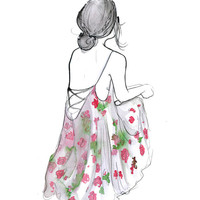 Summer Breeze, print from original watercolor and pen fashion illustration by Jessica Durrant