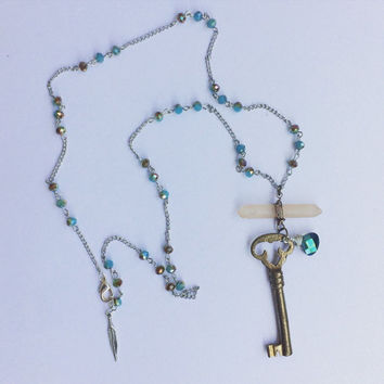 Large crystal with Vintage skeleton key two tone Necklace - Gypsy Boho