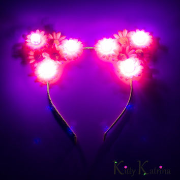 Pink LED Cat Ear Headband, Floral Cat Ears, LED Flower Crown, Coachella, Electric Daisy Carnival, Escape Music Festival, Electric Zoo, PLUR