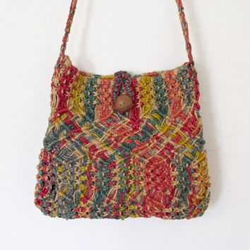 Vintage Boho / Hippie Multicolored Woven / Macrame Bag / Wood Button / Festival Purse