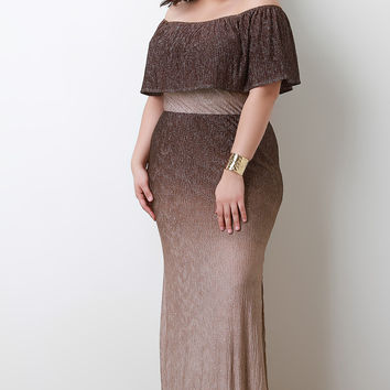 Metallic Ombre Flutter Tier Maxi Dress