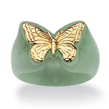 PalmBeach 14k Gold Green Jade Butterfly Ring Naturalist | Overstock.com Shopping - The Best Deals on Gemstone Rings